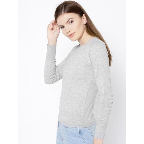MANGO Women Grey Melange Self Design Pullover