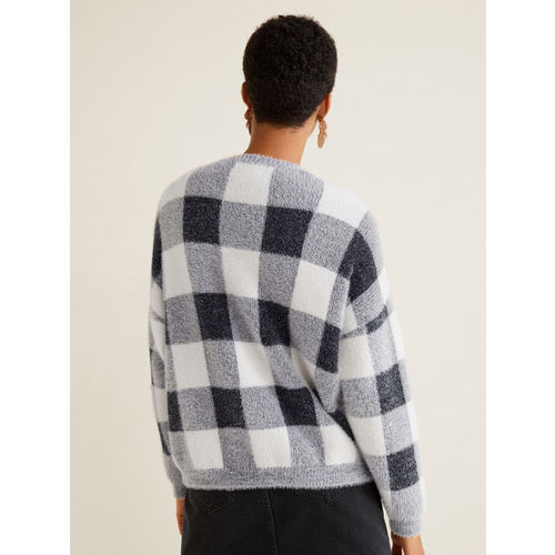 MANGO Women Grey & Off-White Checked Pullover