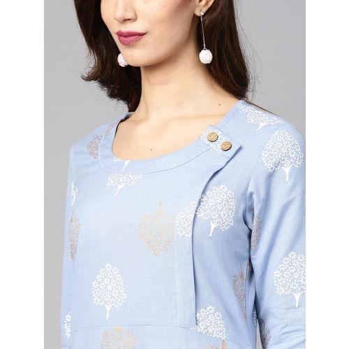 Nayo Women Blue & White Printed Straight Kurta