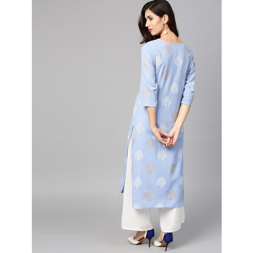 Nayo Women Blue & White Printed Straight Kurta