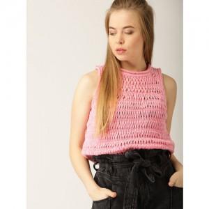 MANGO Women Pink Self Design Pullover