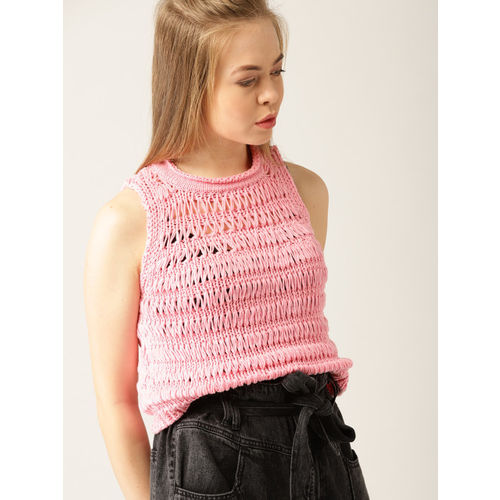 MANGO Women Pink Self Design Pullover