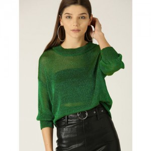 MANGO Women Green Shimmery Sheer Pullover