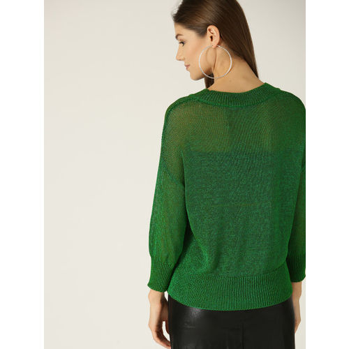 MANGO Women Green Shimmery Sheer Pullover