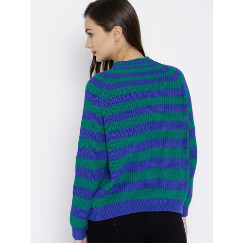 MANGO Women Green & Blue Striped Pullover