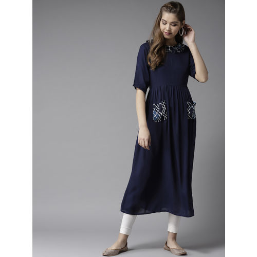 4a24e3b86ba60 Buy HERE&NOW Women Navy Blue Solid A-Line Kurta online | Looksgud.in