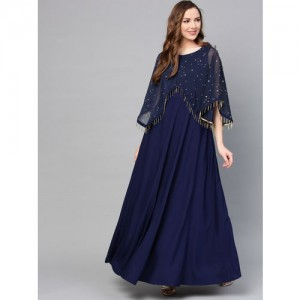 Ahalyaa Women Navy Blue Solid A-Line Layered Kurta
