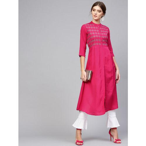Libas Women Pink Yoke Design A-Line Kurta