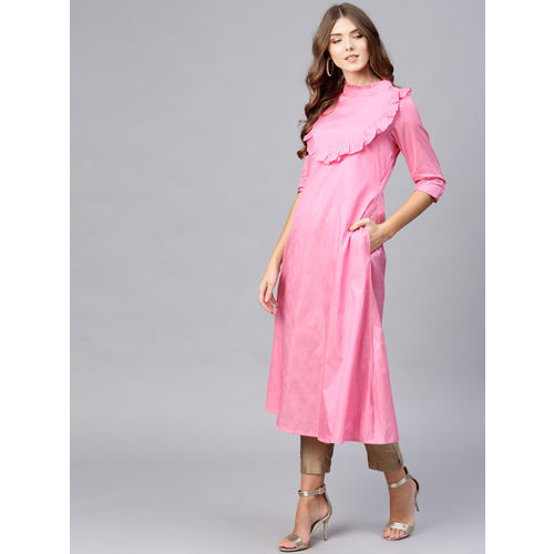 Inddus Women Pink Solid A-Line Kurta with Frills