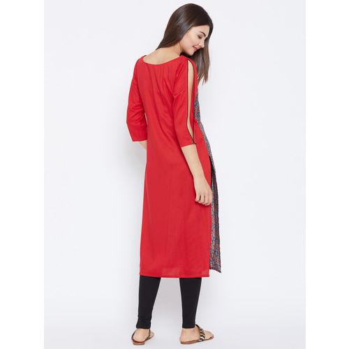 PANIT Women Red & Blue Printed Straight Kurta