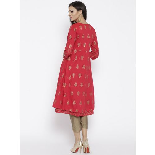 Rangriti Women Red & Golden Printed Layered A-Line Kurta