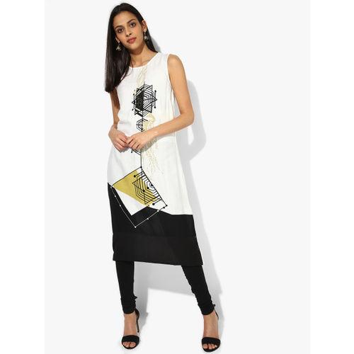RANGMANCH BY PANTALOONS Women Off-White & Black Printed A-Line Kurta