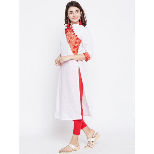 PANIT Women White & Red Yoke Design Straight Kurta