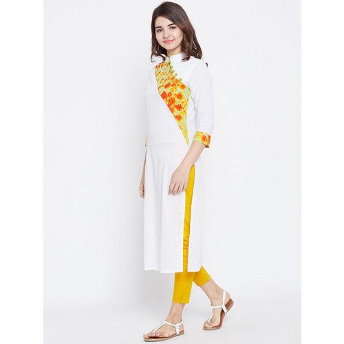 PANIT Women White & Orange Yoke Design Straight Kurta