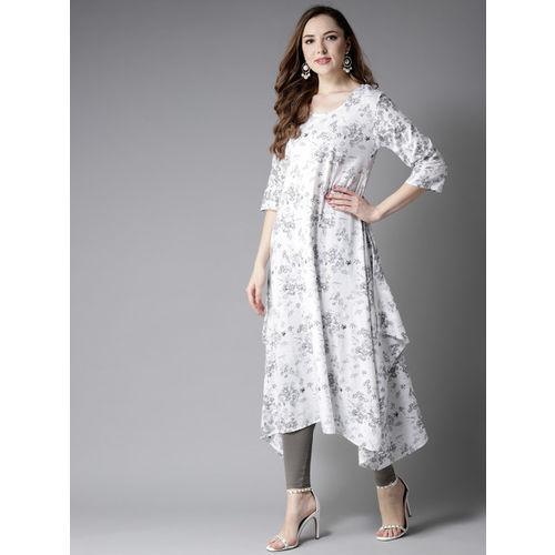 Moda Rapido White & Grey Printed A-Line Kurta
