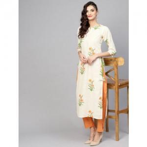 Libas Women Off-White & Yellow Printed Straight Kurta