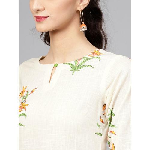 Libas White Floral Print Cotton Blend Casual Kurti