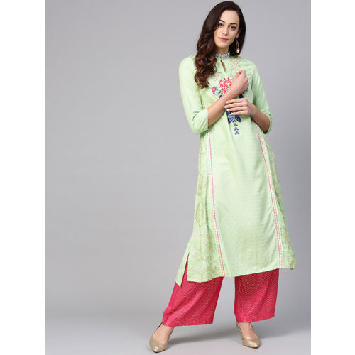 W Women Green & Golden Printed A-Line Kurta