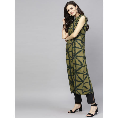 AKS Women Olive Green Printed Sleeveless Straight Kurta