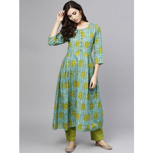 aasi Women Green Printed A-Line Kurta