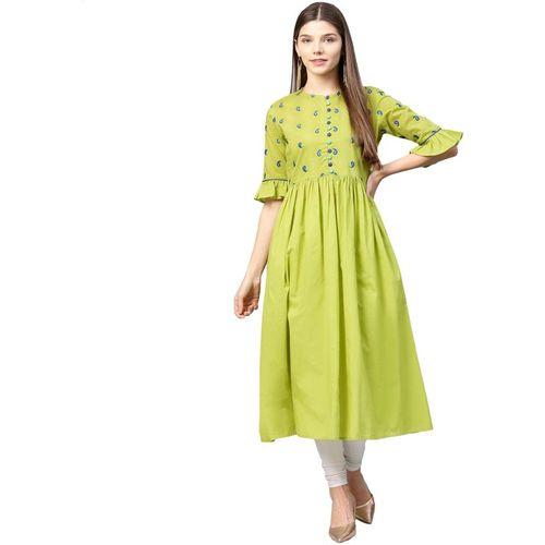 Azira Women Solid A-line Kurta(Green)