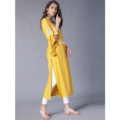 Vishudh Women Yellow Printed Straight Kurta