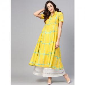 Azira Women Yellow & Sea Green Checked A-Line Kurta