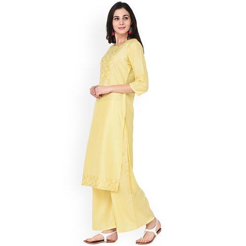 ZIYAA Women Yellow Checked Straight Kurta
