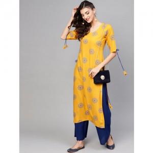 Libas Women Yellow & Blue Printed Straight Kurta