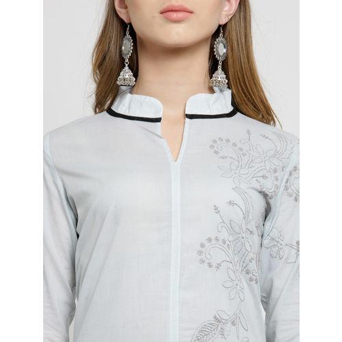 Moedbuille Women Grey & Black Chikankari Embroidered A-Line Kurta