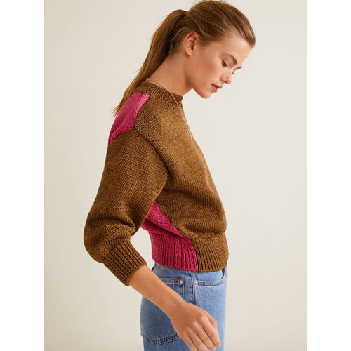 MANGO Women Brown & Pink Colourblocked Pullover