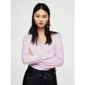 MANGO Women Lavender Solid Sweater