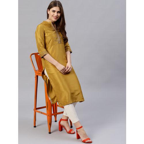 W Women Mustard Yellow Yoke Design Straight Kurta