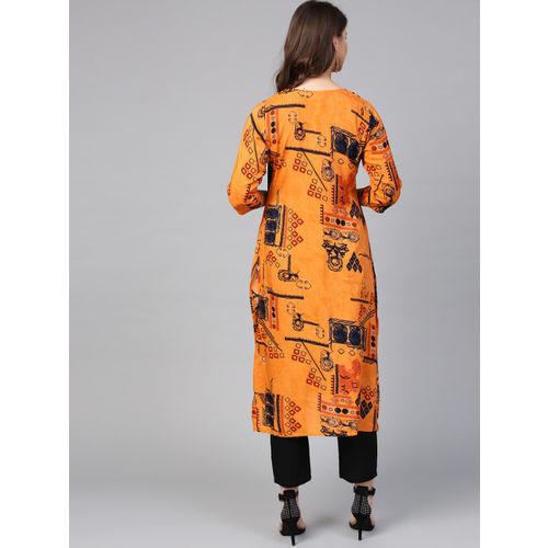 Shree Women Orange & Navy Blue Printed A-Line Kurta