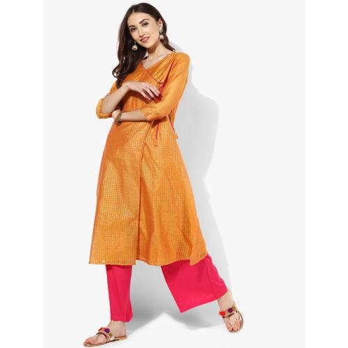 c5ccc961106 Buy RANGMANCH BY PANTALOONS Women Orange Printed A-Line Kurta online ...