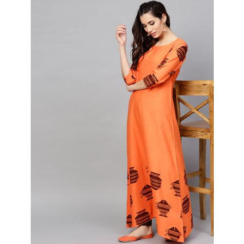 AKS Women Orange & Brown Printed A-Line Kurta