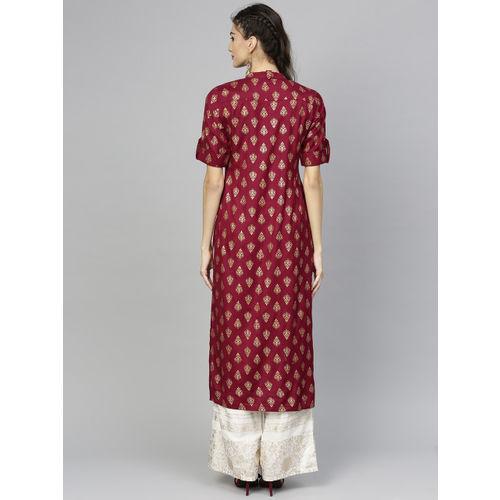 Libas maroon cotton blend Printed Straight Kurta