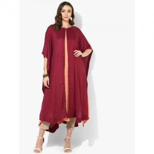 Sangria Maroon/Orange Round Neck Color Blocked Double Layer Kaftan With Anarkali Inner Kurta