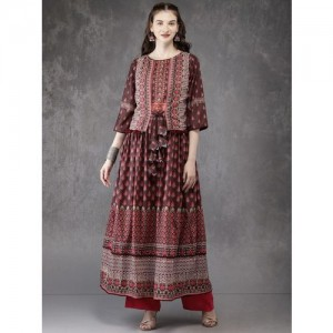Anouk Brown & Pink Polyster Printed Layered A-Line Kurta