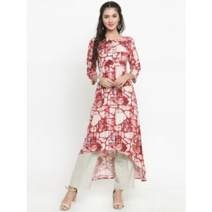 Indibelle Women Red & Off-White Printed A-Line Kurta