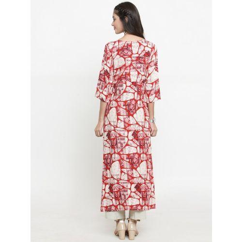 Indibelle Women Red & Off-White Printed A-Line Kurta