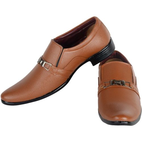 Asf Shoe Tan Synthetic Slip On Formal Shoes