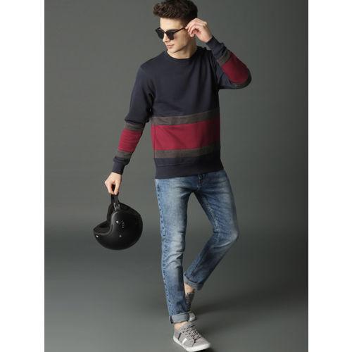 Roadster Men Navy Blue & Maroon Colourblocked Sweatshirt