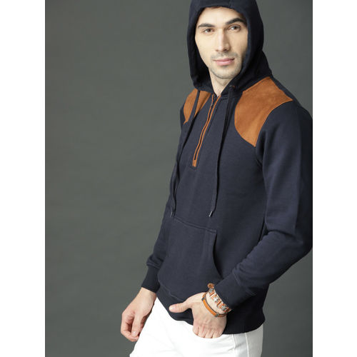 Roadster Men Navy Blue Solid Hooded Sweatshirt