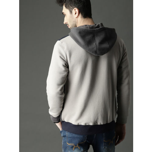 Roadster Men Grey & Navy Blue Colourblocked Hooded Sweatshirt