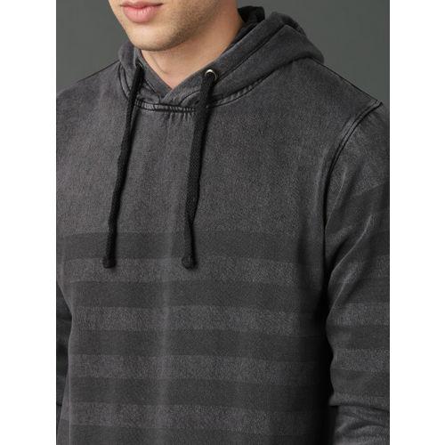 Roadster Men Grey Striped Hooded Sweatshirt