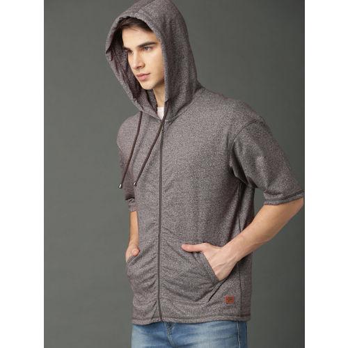 Roadster Men Grey Solid Hooded Sweatshirt