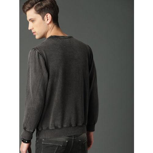 Roadster Men Charcoal Grey Solid Sweatshirt