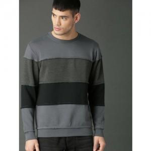 Roadster Men Grey & Black Colourblocked Sweatshirt