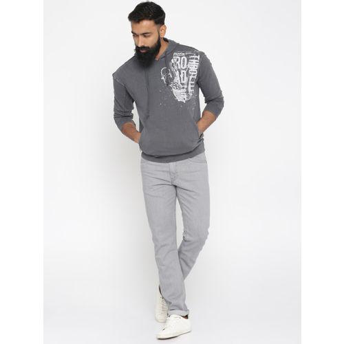 Roadster Men Grey Printed Hooded Sweatshirt